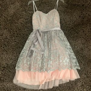 Sparkly Grey and Light Pink Homecoming Dress